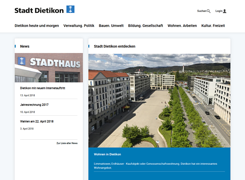 Screenshot Website Stadt Dietikon
